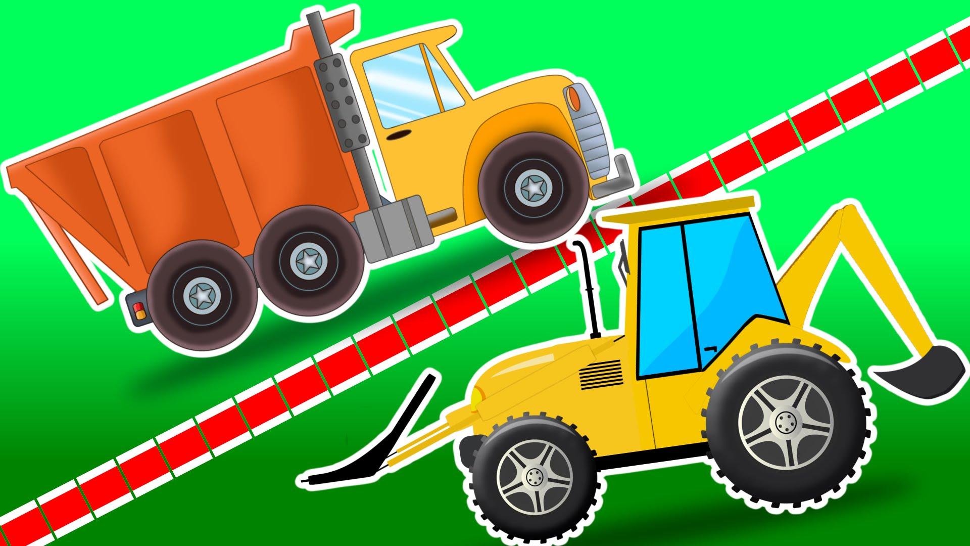 Dump truck vs loader. Backhoe clipart car
