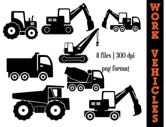 Backhoe clipart car. Work vehicles silhouettes dump
