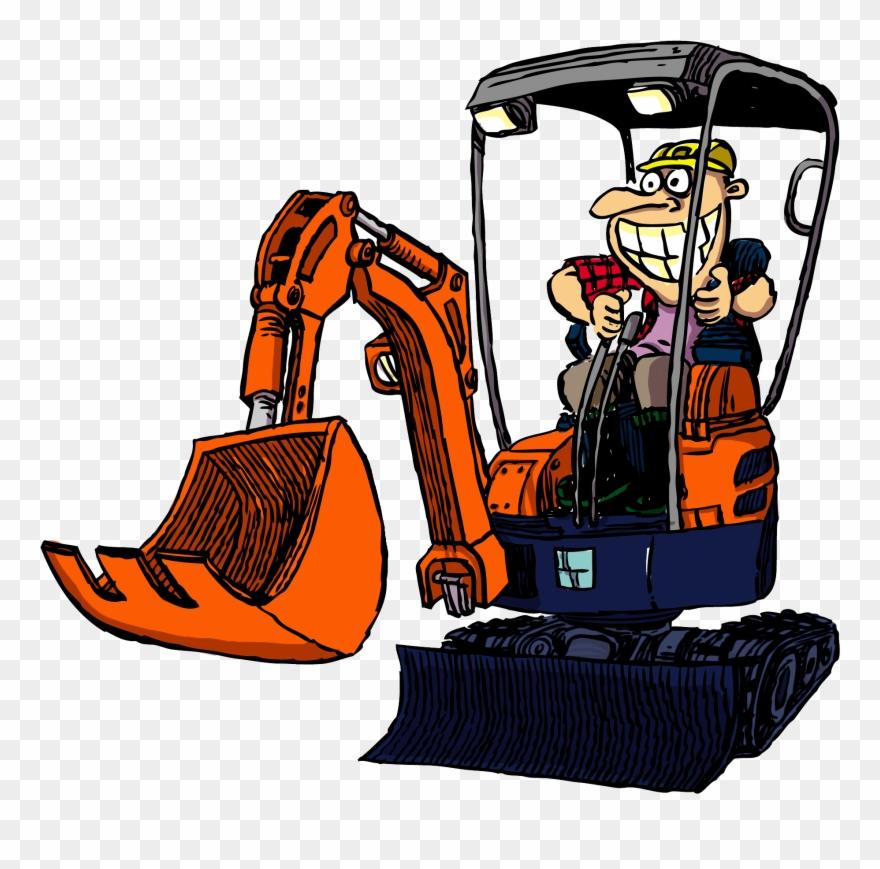Backhoe clipart cartoon. Excavator operator pinclipart