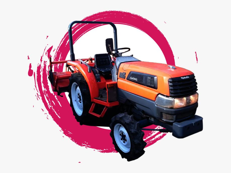 Farm tractor off road. Backhoe clipart cartoon