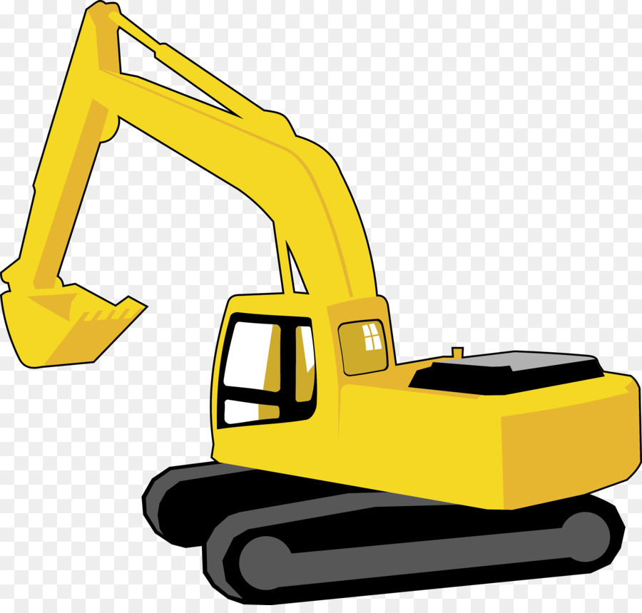 Excavator clipart excavator caterpillar. Yellow background construction