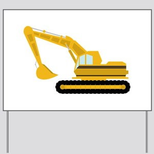 Backhoe clipart construction. Excavator yard signs cafepress