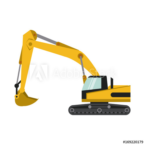 Heavy machinery icon image. Backhoe clipart construction