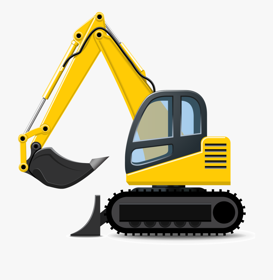 Excavator heavy equipment clip. Backhoe clipart construction