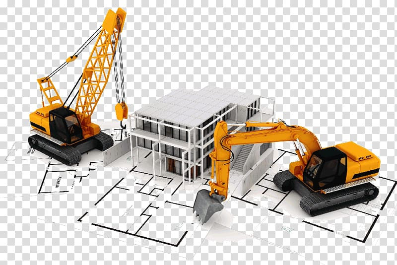 Backhoe clipart construction project. Excavator and crane illustration