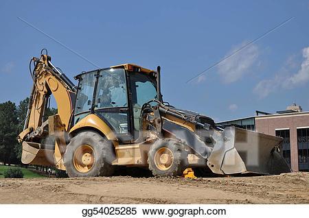 Backhoe clipart construction site. Clip art stock illustration
