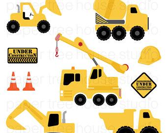 Backhoe clipart construction truck. Dump art etsy trucks