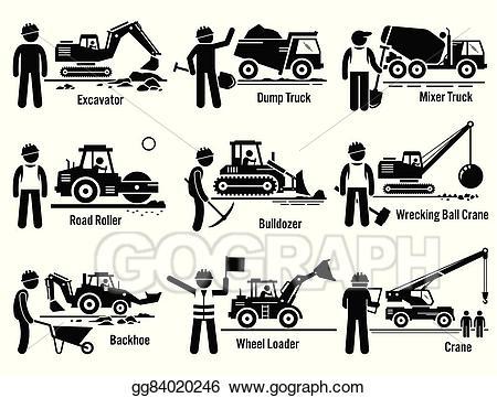 Backhoe clipart construction vehicle. Vector illustration vehicles set