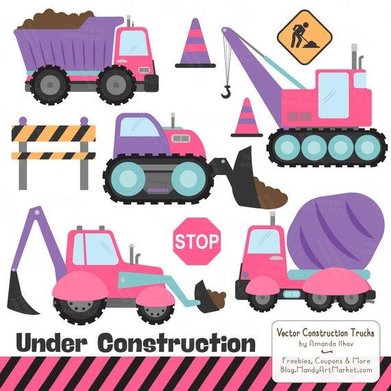 Premium girls truck clip. Backhoe clipart construction vehicle