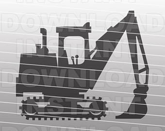 Backhoe clipart contractor. Excavator etsy svg file