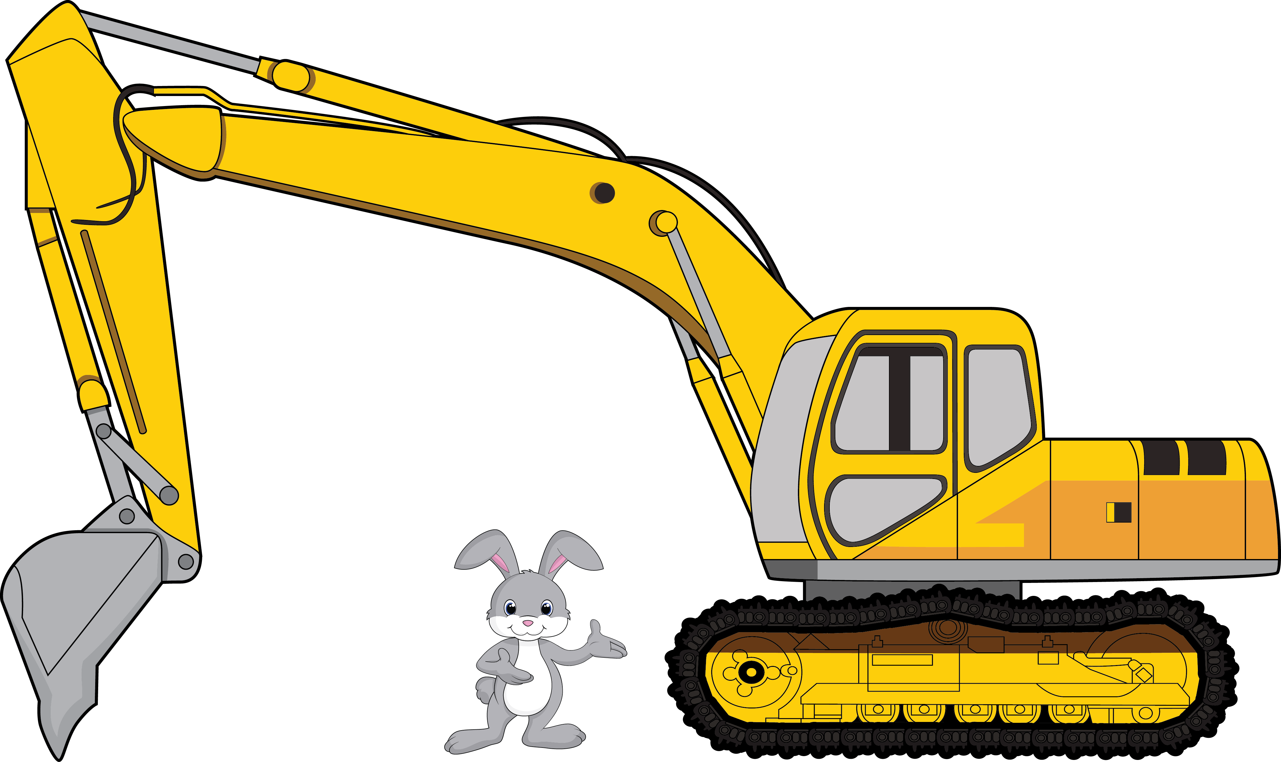 Bunny with franchino insurance. Backhoe clipart contractor