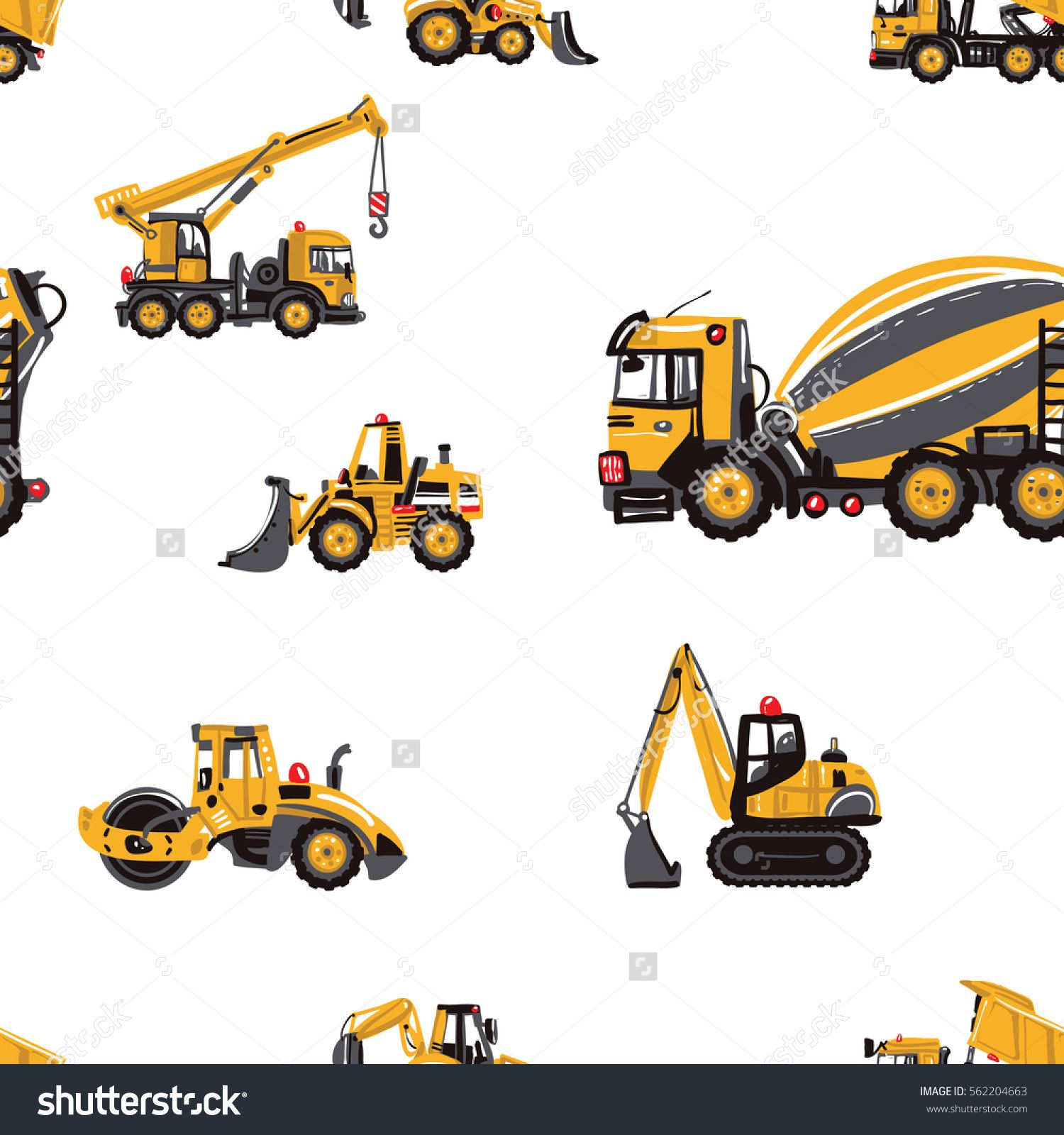 Backhoe clipart cute. Seamless pattern with road