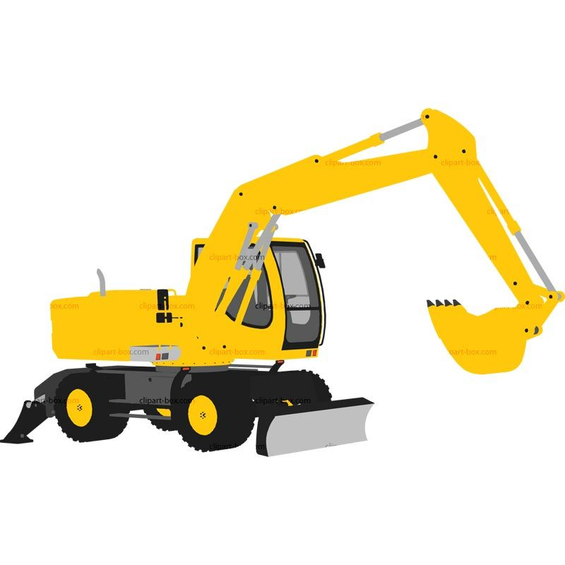 Excavator royalty free vector. Backhoe clipart cute