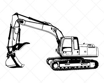 Backhoe clipart digger. Excavator etsy detailed clipartvector