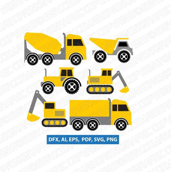 Backhoe clipart dump truck. Construction transportation crane excavator