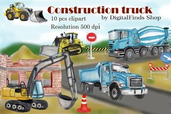 Construction excavator . Backhoe clipart dump truck