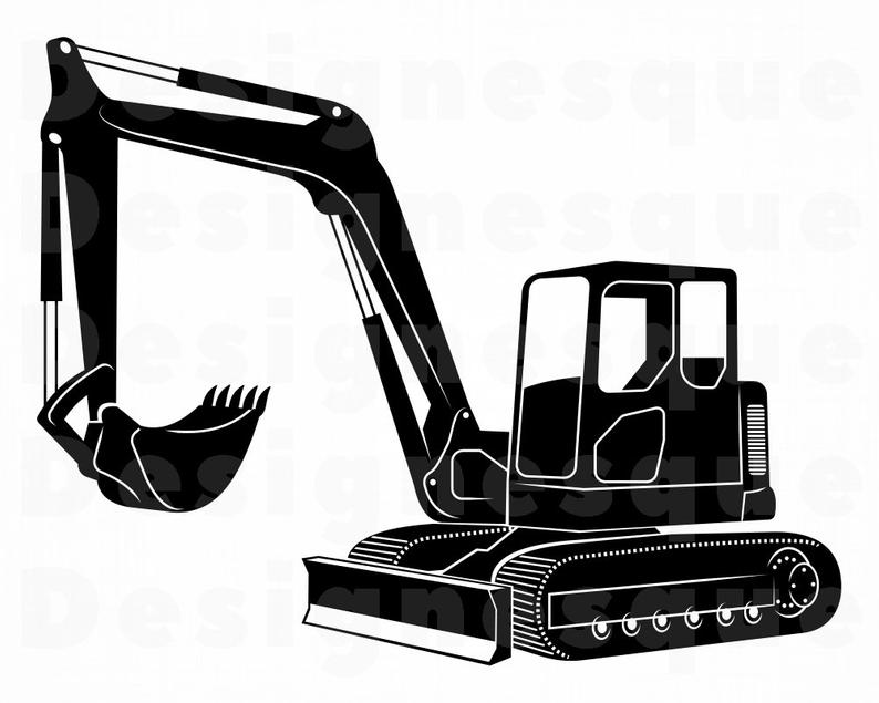 Excavator svg heavy files. Backhoe clipart earthmoving equipment
