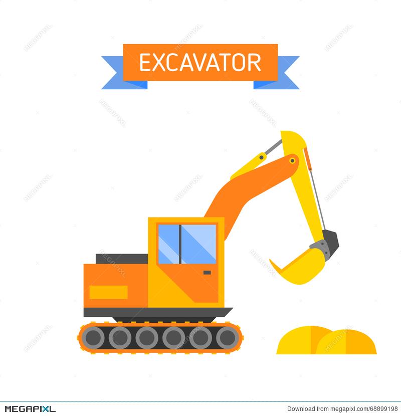 Yellow excavator special machinery. Backhoe clipart engineering equipment