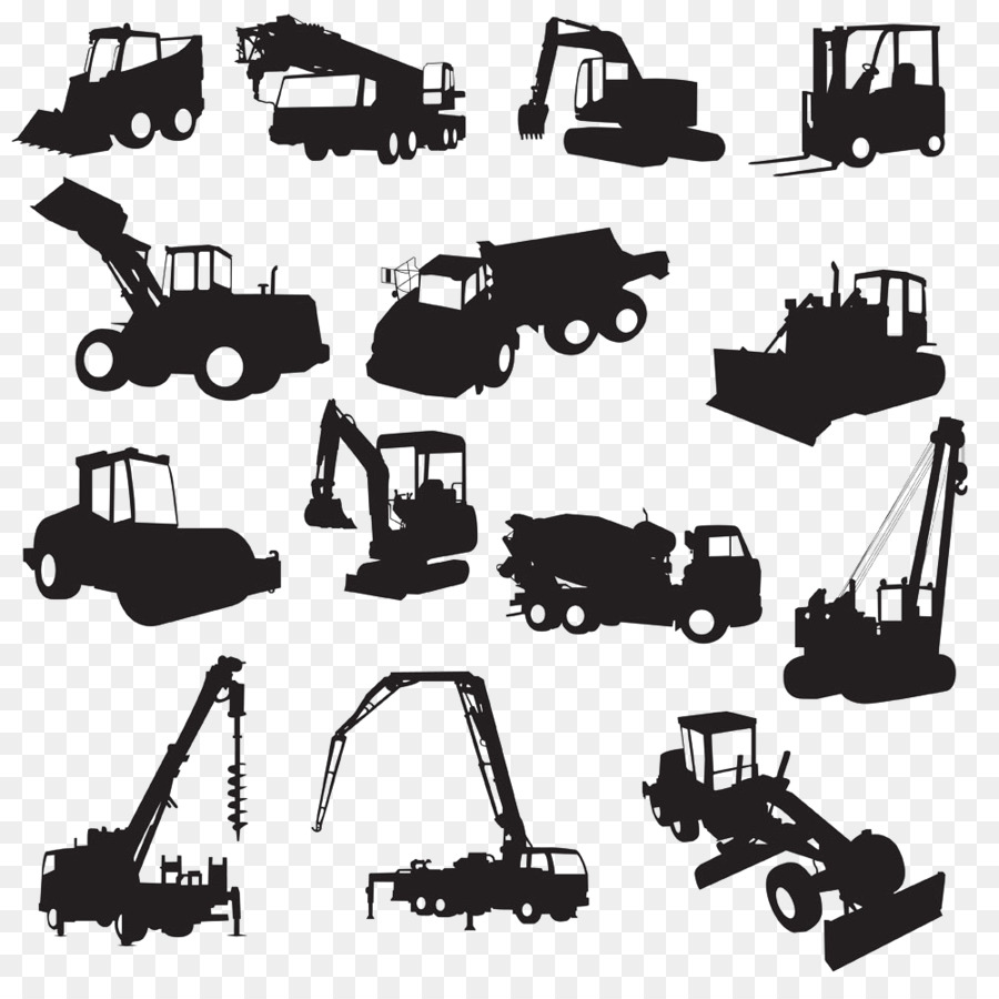 Heavy architectural silhouette excavator. Backhoe clipart engineering equipment