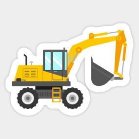 Backhoe clipart equipment operator. Excavator stickers teepublic