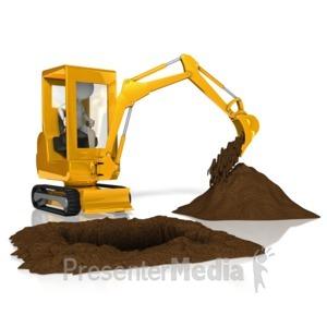 Stick figure . Backhoe clipart excavation