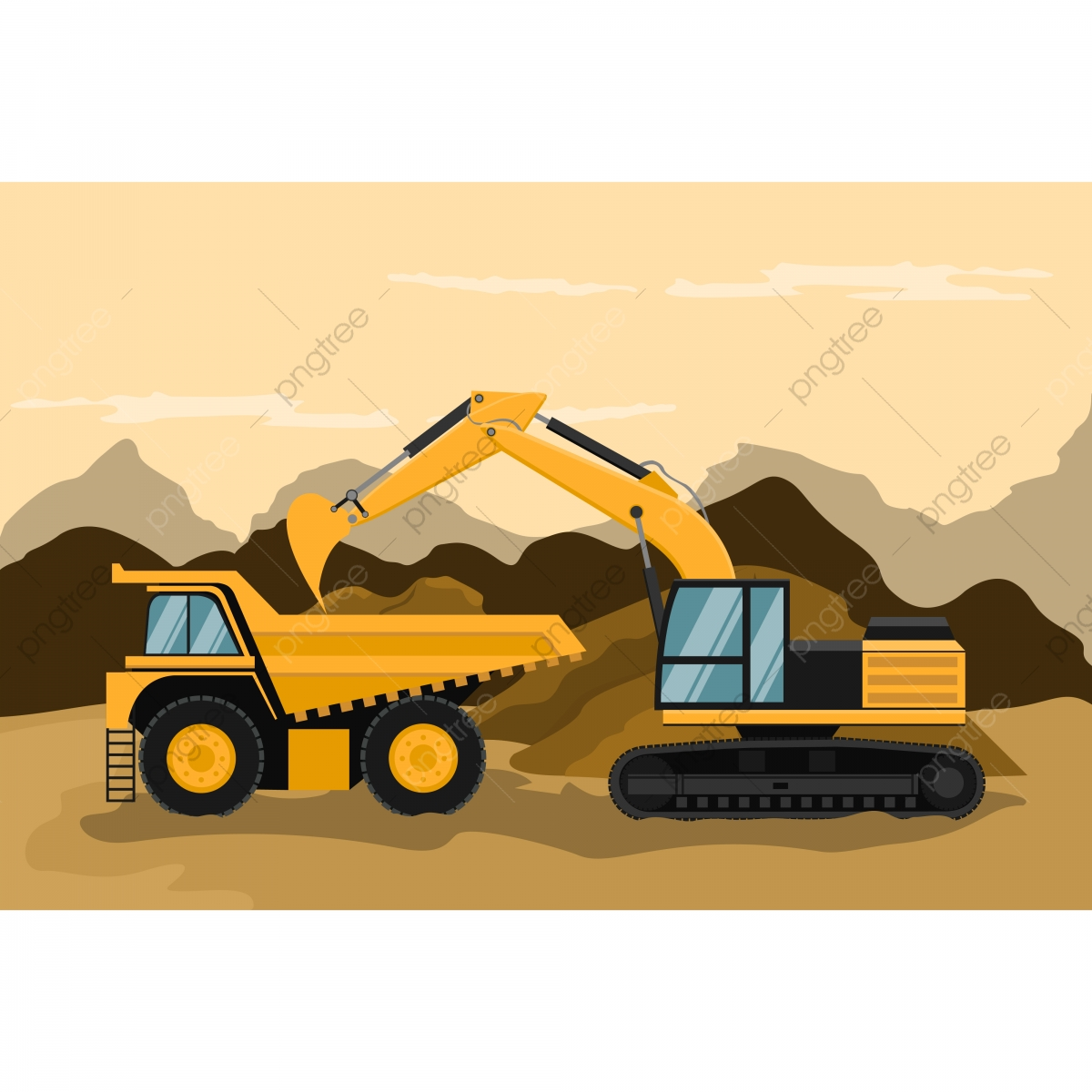 Mining truck and caterpillar. Backhoe clipart excavation