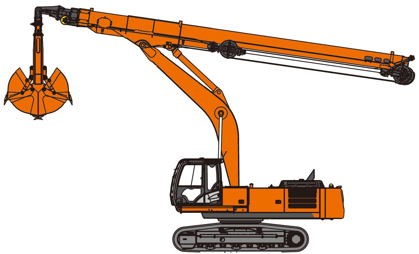Backhoe clipart excavator arm. Clamshell telescopic excavators hitachi
