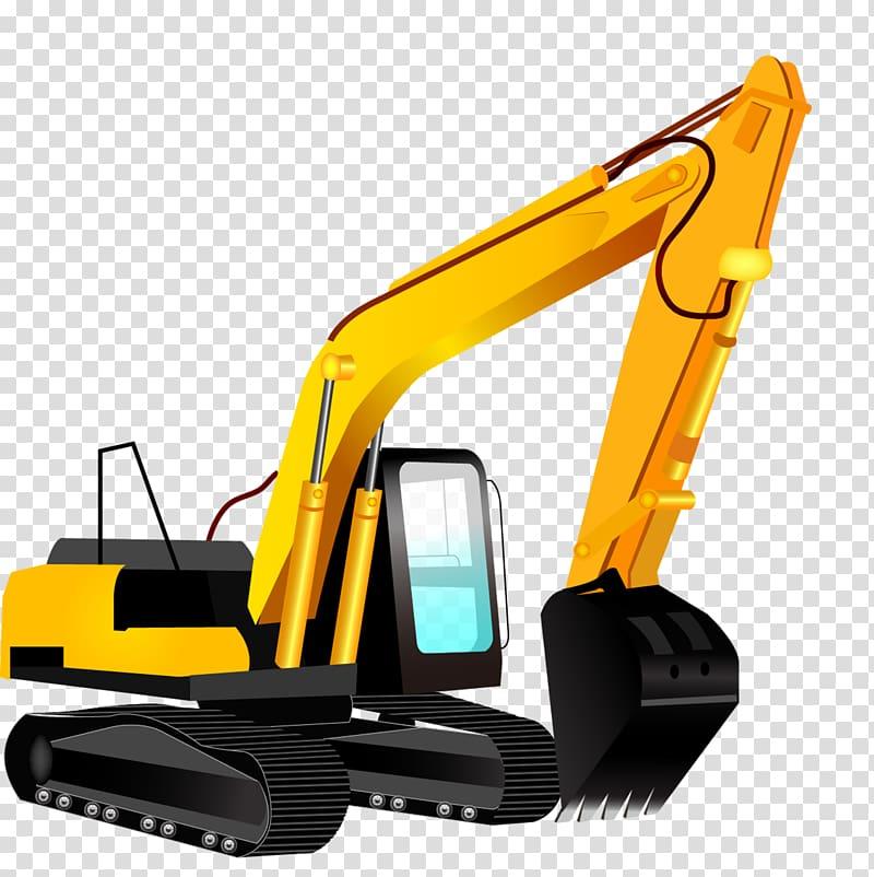 Black and yellow excavator. Bulldozer clipart backhoe