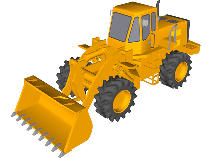 Tractor d model cad. Backhoe clipart front loader