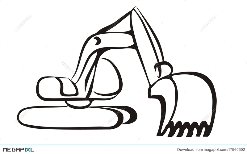 Excavator clipart gambar. Icon in simple black