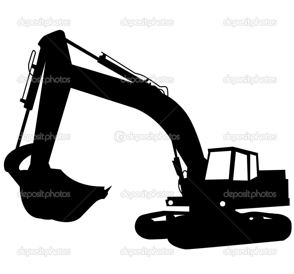 Heavy equipment silhouette at. Bobcat clipart construction