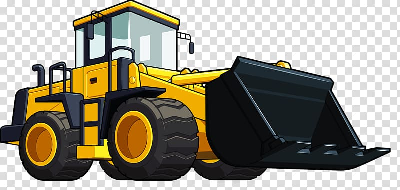 Loader excavator hand painted. Backhoe clipart heavy equipment