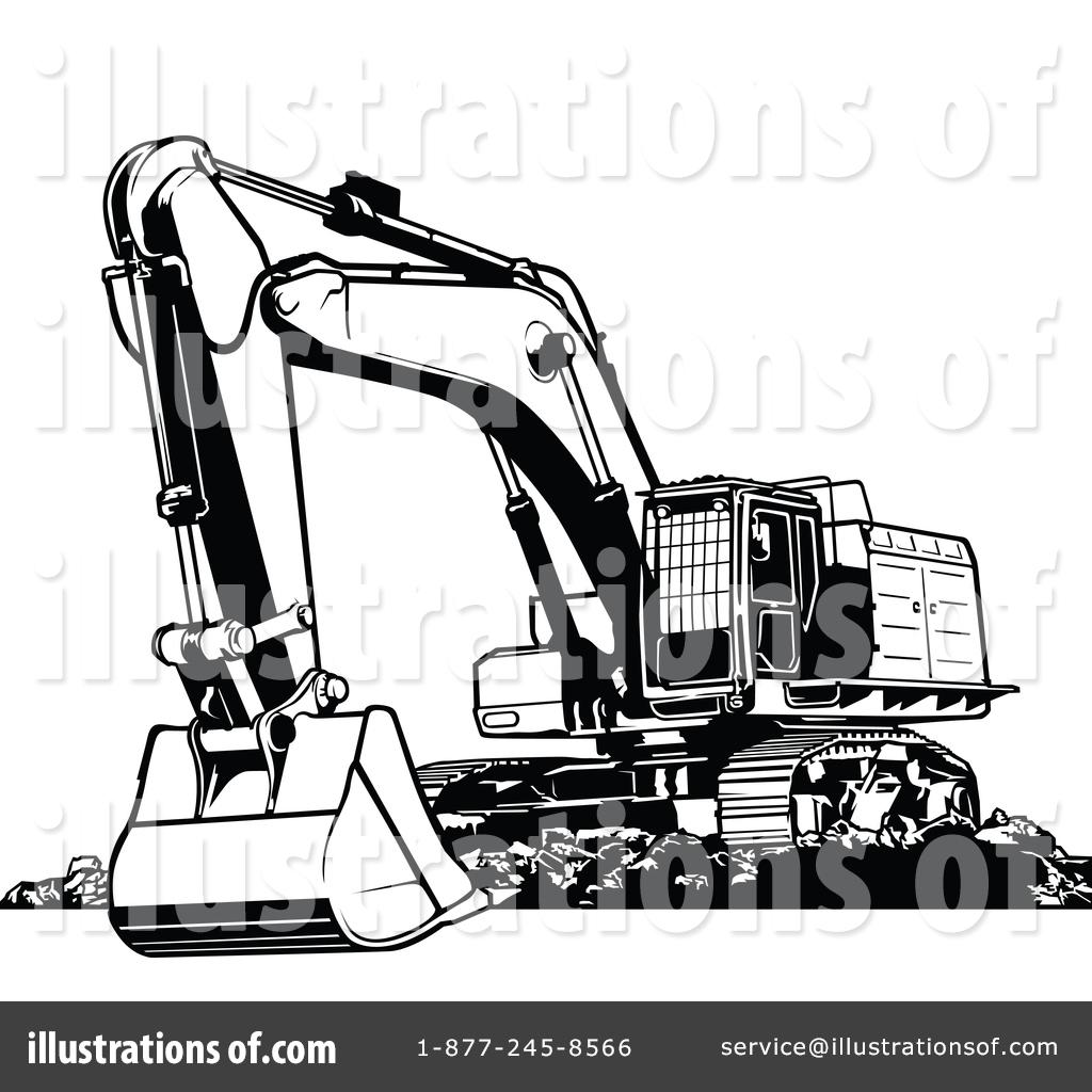 Excavator illustration by dero. Backhoe clipart logo