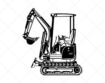 Excavator clipart logo. Etsy detailed mini vector