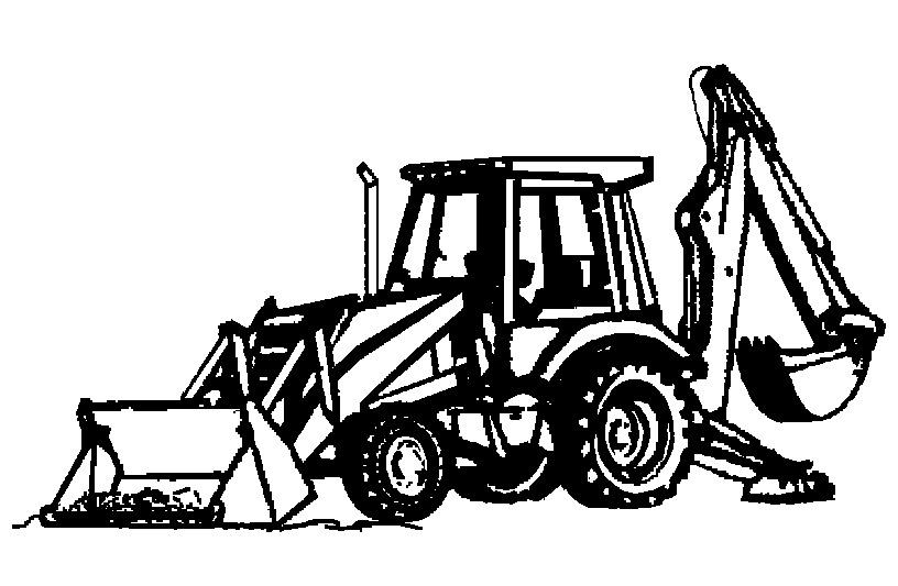 Backhoe clipart logo. Excavator black and white