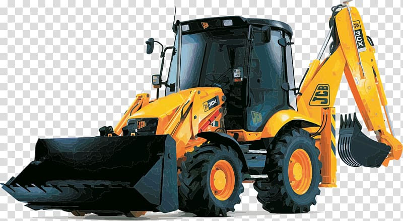 Yellow and black excavator. Backhoe clipart machine jcb