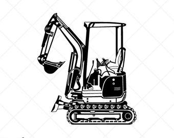 Excavator svg etsy detailed. Backhoe clipart mini digger