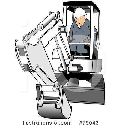 Excavator illustration by djart. Backhoe clipart mini digger