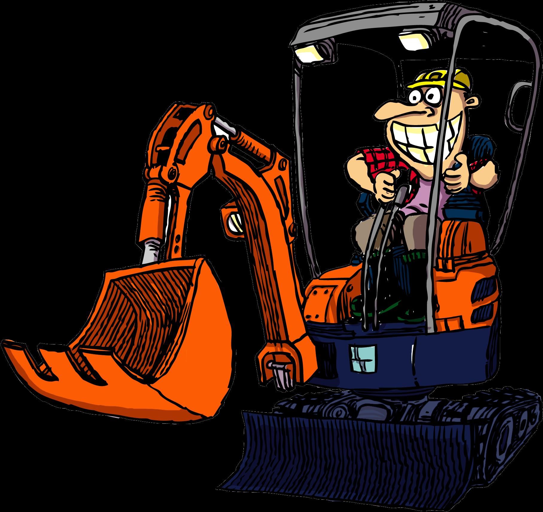 Hd cartoon excavator operator. Backhoe clipart mini digger