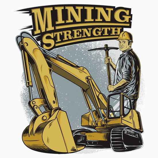 Strength excavator digger vehicle. Backhoe clipart mining equipment