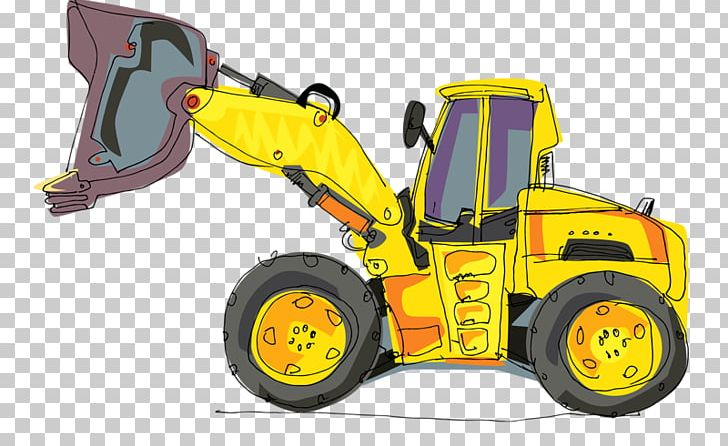 Excavator heavy equipment cartoon. Backhoe clipart plant machinery