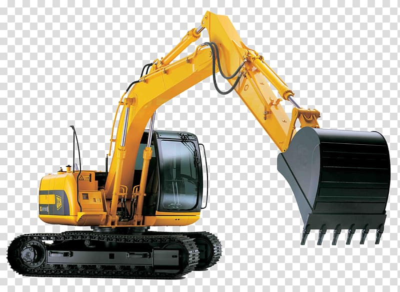 Backhoe clipart plant machinery. Yellow and black excavator