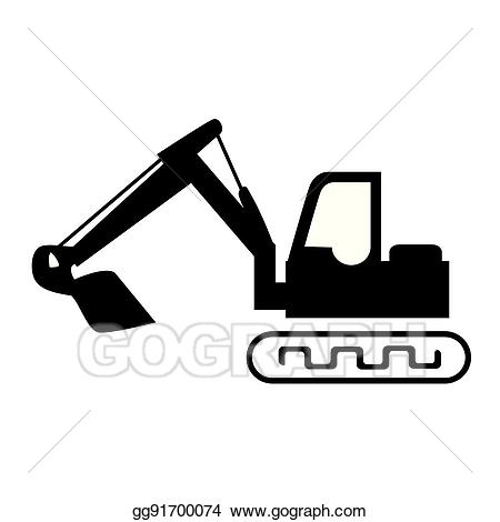Backhoe clipart silhouette. Vector illustration with crane