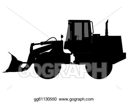 Backhoe clipart silhouette. Stock illustrations excavator outline