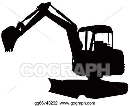 Clip art mechanical digger. Backhoe clipart silhouette