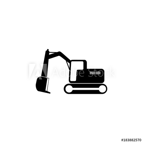 Crawler excavator icon illustration. Backhoe clipart simple