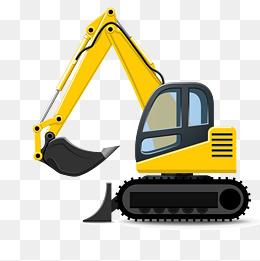 Cartoon excavator png vectors. Backhoe clipart simple