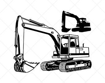 Backhoe clipart trackhoe. Excavator etsy clipartvector clip