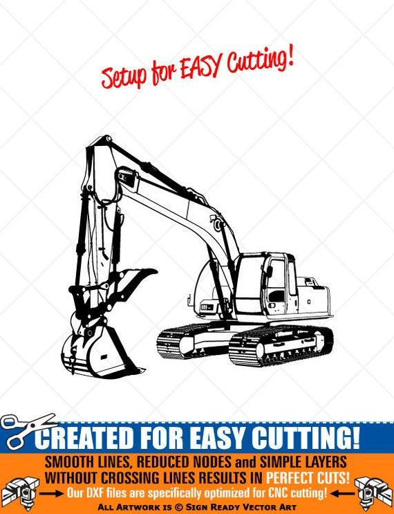 Detailed excavator vector clip. Backhoe clipart trackhoe