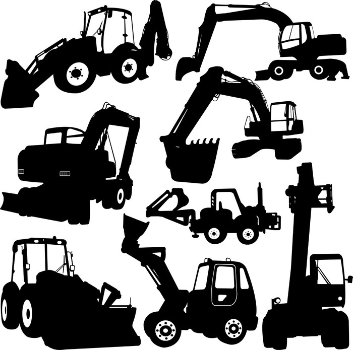 Backhoe clipart vector. Excavator silhouette wall mural